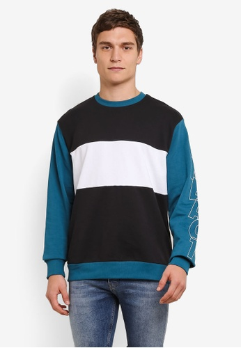 Topman blue and multi Teal Panel React Sweatshirt TO413AA0S7XWMY_1