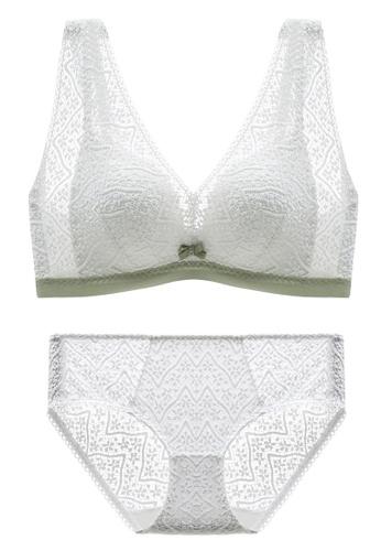 ZITIQUE white Latex Cotton Non-Steel Ring Sexy Lace Adjustable Bra-White 6A1B8USD76BE6FGS_1