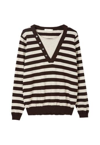 A-IN GIRLS 米褐色 and 褐色 簡約條紋拼接針織衫 21913AAEFAD7ADGS_1