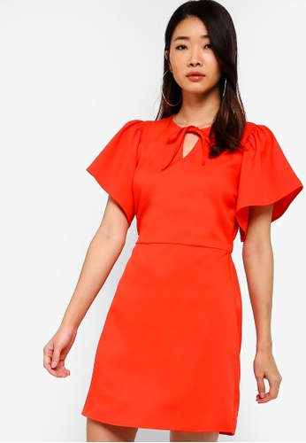 Something Borrowed orange Flare Sleeves Fit And Flare Dress 83415AA9D7AA99GS_1