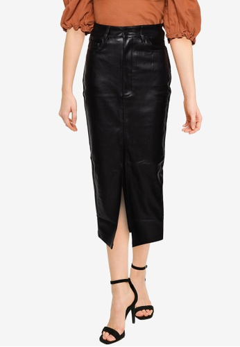 MISSGUIDED black Split Front Midaxi Skirt 033E7AA2358922GS_1