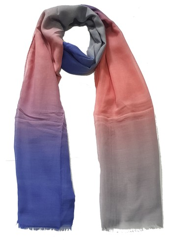 San Marco pink and grey and navy Ombre PolyCotton Scarf Grey, Pink & Dark Blue 9B3D4AAB54A3D6GS_1