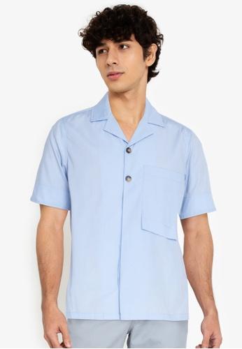 ZALORA BASICS blue Long Rectangle Pocket Shirt 34FE4AA7F8088BGS_1