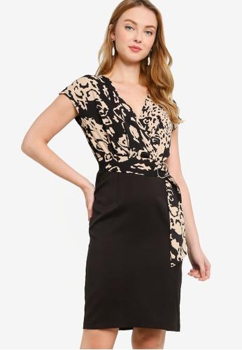 ZALORA WORK multi Side Wrap Contrast Dress FB676AAA670D9AGS_1