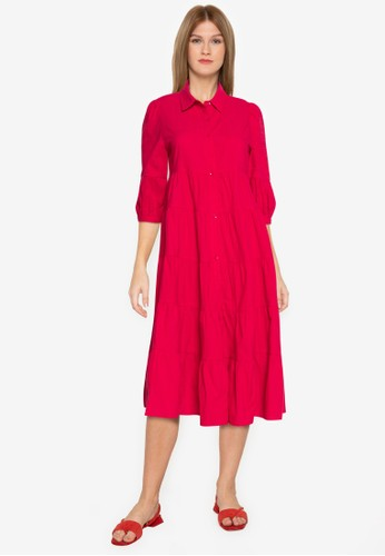 ZALORA BASICS red Button Down Tiered Midi Dress 93C33AA9DD2DB6GS_1