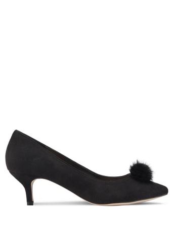 Carlton London black Fur Ball Heels AE561SHEE58ADBGS_1