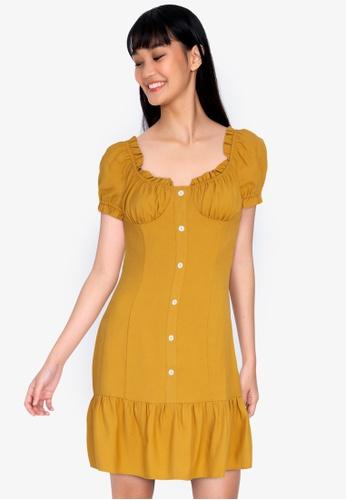 ZALORA BASICS yellow Flutter Hem Button Front Dress 98994AA7F72AA6GS_1
