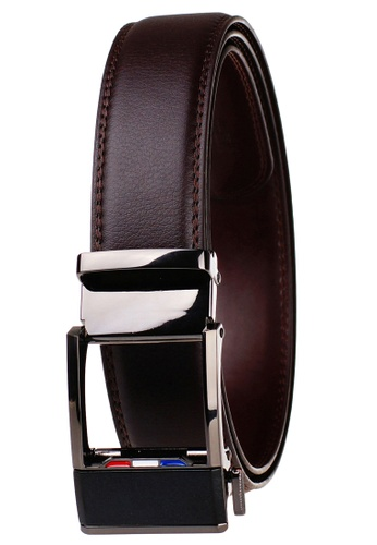FANYU black Leather Dress Belt With Automatic Buckle belt 7F70DACA7EF629GS_1
