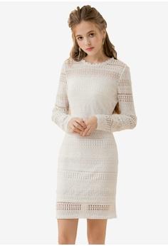 5c732563c8723 Eyescream white Cut Out Back Lace Dress 38E65AA3D724B5GS 1