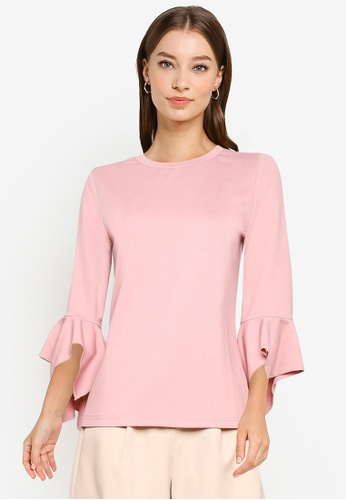 ZALORA WORK pink Flare Sleeves Knit Top FA9F3AAA043918GS_1