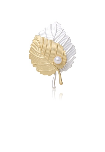 Glamorousky white Fashion and Elegant Gold and Silver Leaf Brooch with Imitation Pearls 689BFAC1223356GS_1