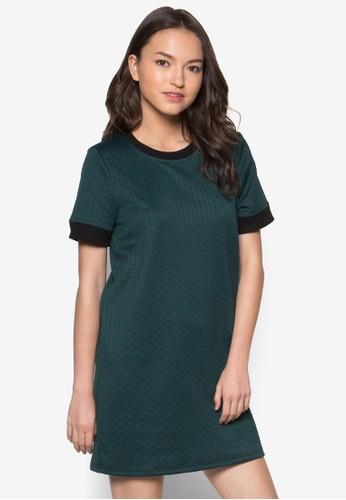 暗紋直筒連zalora時尚購物網評價身裙, 服飾, 洋裝