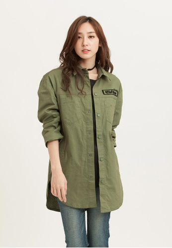 H:CONNECT green Mid Length Shirket 87A49AA9C3FBB5GS_1