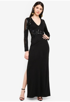 357f910a7c 55% OFF Lipsy Black Long Sleeve Sequin Maxi Dress RM 569.00 NOW RM 255.90  Sizes 6 8 10 12
