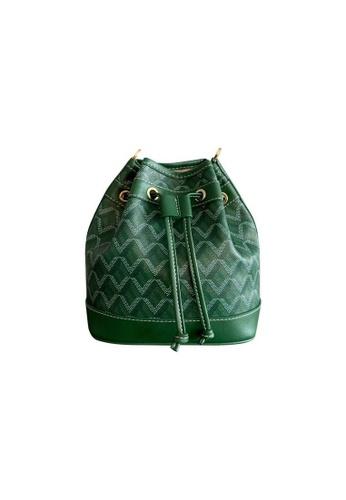 EMO green Korean fashion Brand‧Canine Pattern bucket bag - Green 8489BAC713E4EEGS_1