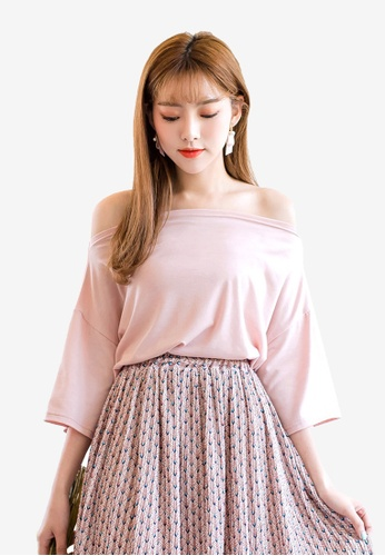 Tokichoi pink Off Shoulder Basic Tee D27A8AA7968117GS_1