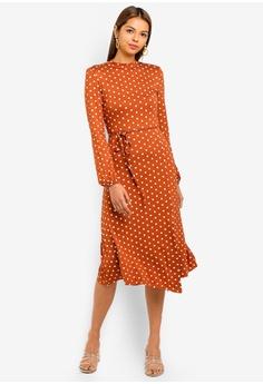 Miss Selfridge brown Rust Polka Dot Hanky Hem Midi Dress 81DA9AA1710F44GS 1 faaeb3f37