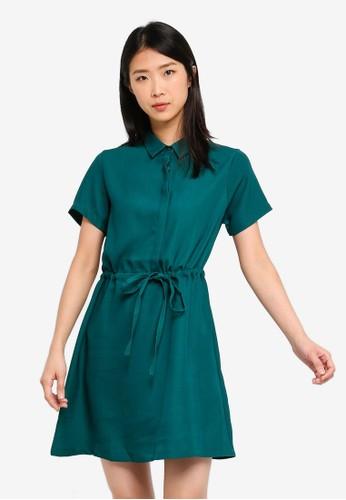 ZALORA BASICS green Basic Drawstring Dress 37FAEAA44B58F0GS_1