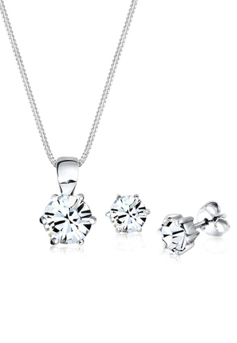 Elli Germany white 925 Sterling Silver Classic Swarovski® Crystals Jewellery Set EL474AC00GRJMY_1