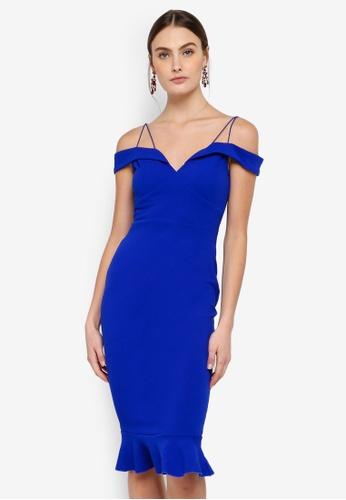 AX Paris blue Off The Shoulder Strappy Fishtail Dress 0C264AACCE6CC5GS_1