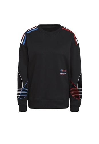 ADIDAS black adidas Originals Adicolor Tricolor Trefoil Velvet Sweatshirt BC4A6AA08BB87EGS_1