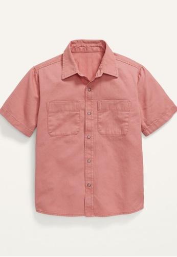 Old Navy pink Boys Short-Sleeve Button-Front Utility Shirt 30974KAEC80B17GS_1