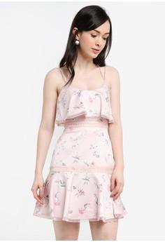 細肩帶花卉魚尾短洋裝