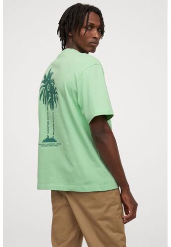 H&M green Heavy cotton jersey T-shirt ADAB9AA9BD5DF8GS_1