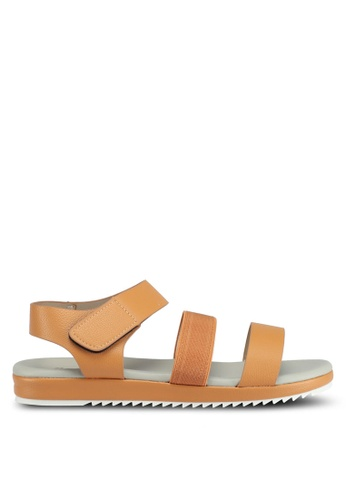 Bata brown Bata Pebbled Texture Sandals 014C6SH654A6C0GS_1