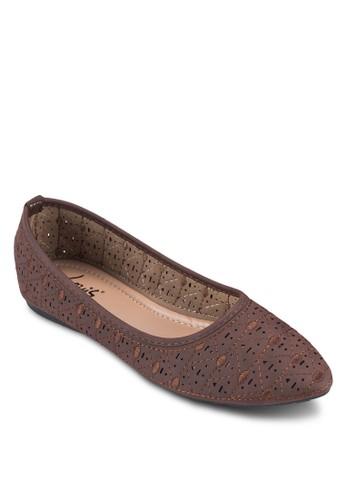 休esprit旗艦店閒印花尖頭平底鞋, 女鞋, 芭蕾平底鞋