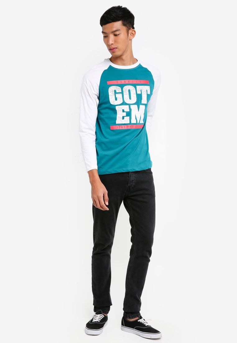 Fidelio Long Graphic Contrasted Sleeves Blue Sleeves Turquoise Tee nEanqUXw