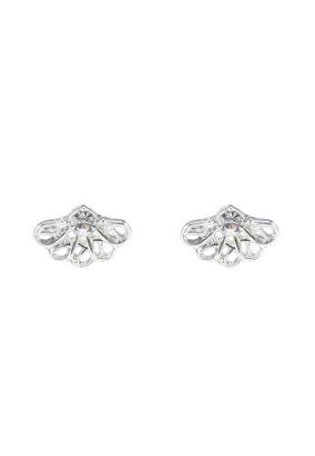 Pieces 銀色 鑽飾鉚釘耳環 077A9AC1F4D82CGS_1