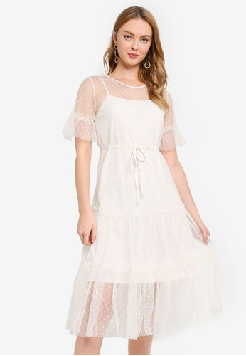 Hopeshow beige Midi Dress with Polka Dot Mesh E8293AAF69BFDAGS_1