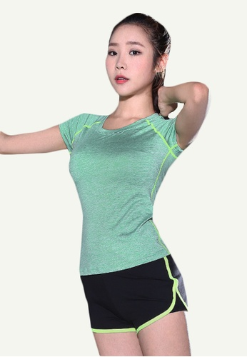 B-Code green ZYG5146-Lady Quick Drying Running Fitness Yoga Sports Top and Shorts Two Pieces Set-Green 8619DAA8ECFB37GS_1