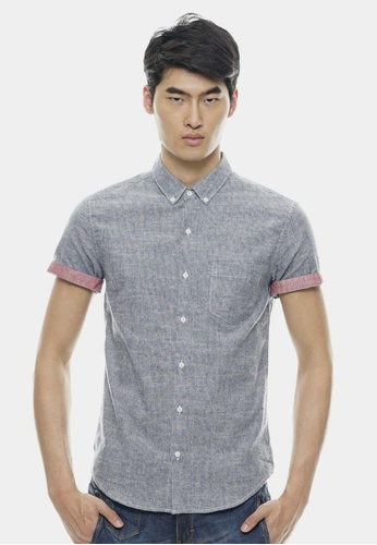 Private Stitch navy Casual Short Sleeve Shirts In Brush Material PR777AA91NAAMY_1