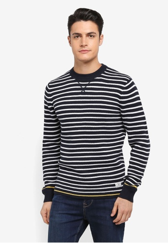 Jack Wills white and navy Thurston Stripe Jumper 341C2AA8A80AD3GS_1