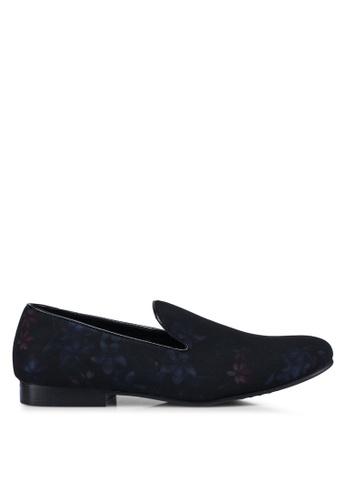 Topman black Black Duke Floral Loafers F18BBSHB0E9FCCGS_1