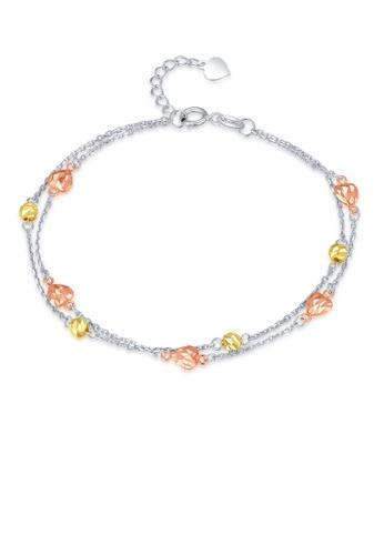 MaBelle silver 14K 585 Tricolor Gold Diamond Cut Heart Double Chain Bracelet 80503ACEA7632DGS_1