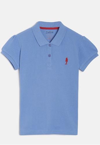 ZALZA blue Protea 100% Organic Cotton Girls Polo Tee - Blue EB30EKAB96CA68GS_1