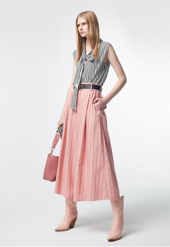 iROO pink Stripes Print Trousers 48B44AAC63482EGS_1