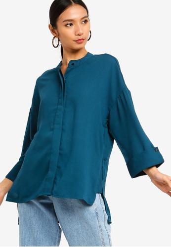 ZALORA green Mandarin Collar Top 2D26CAA901C5E0GS_1