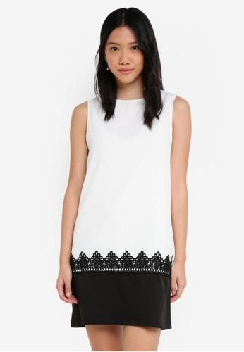 ZALORA white Colorblock Dress with Lace 8BE74AA89BF5B8GS_1