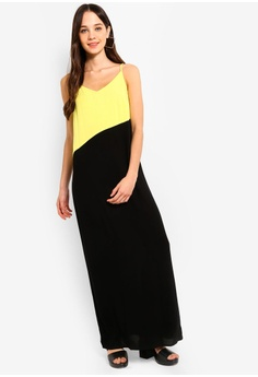80d0e4f7d0 Something Borrowed black and green Colorblock Panel Cami Maxi Dress  51A12AAB5D4126GS 1