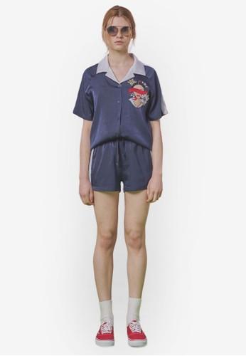 撞色領刺繡圖案緞感esprit outlet 高雄襯衫, 服飾, 上衣