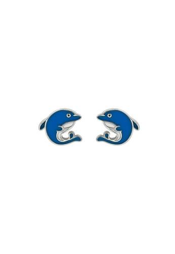 LYCKA 藍色 LDR9106 S925純銀 海豚耳釘 BC38AAC87FF398GS_1