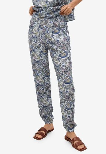 Mango blue Paisley Print Trousers CEE80AA49C46C9GS_1