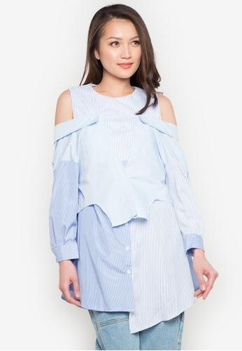 Spring Fling blue Striped Cold Shoulder Long Top SP673AA0JT3PPH_1
