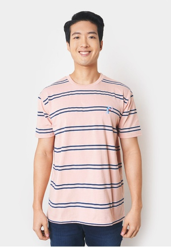 Penshoppe pink Striped Tee with P Embroidery 395AAAA051FD80GS_1