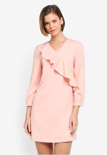 ZALORA pink Drape Ruffle Dress 14A73AA59B6478GS_1