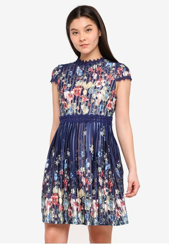 Foxiedox blue and multi and navy Meadow Open Back Dress 3A9E6AA73DA019GS_1
